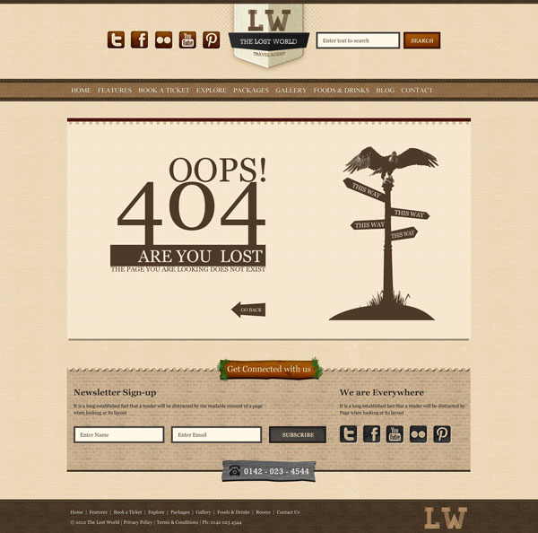 404 Page -  The Lost World HTML