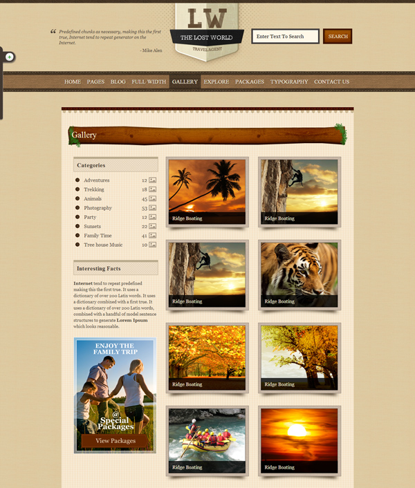 Gallery - The Lost World HTML