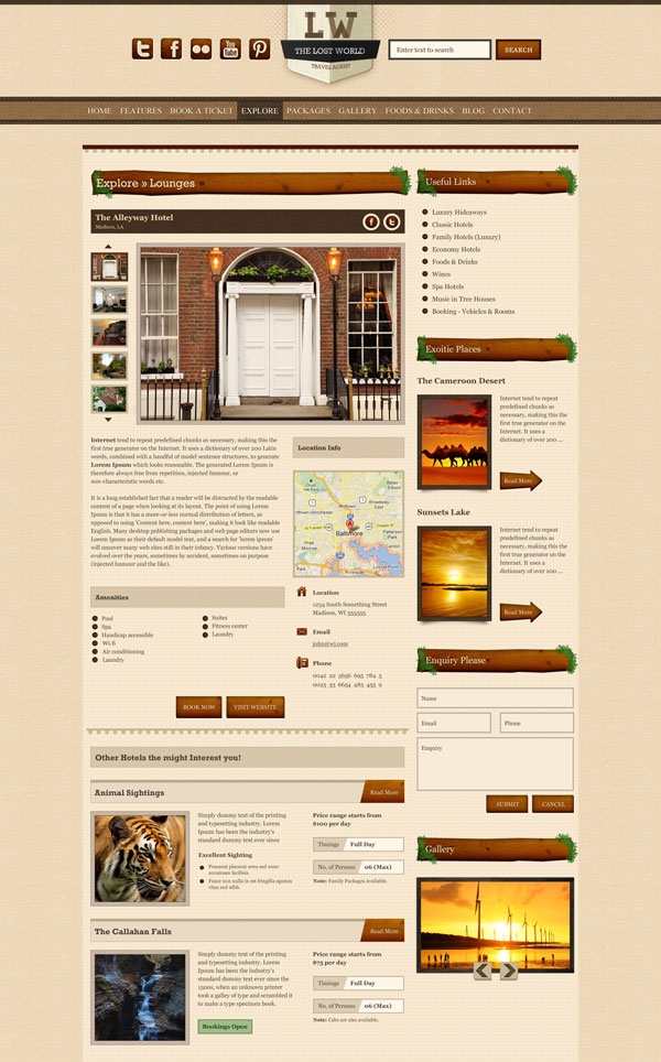 Places - The Lost World HTML