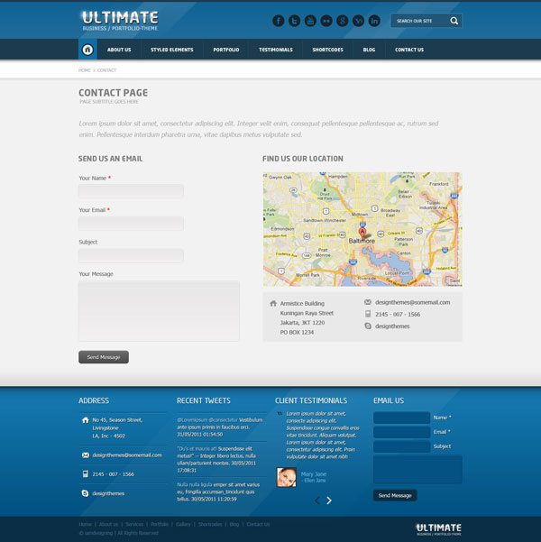 Ultimate multi purpose psd template design blog for Contact us php template