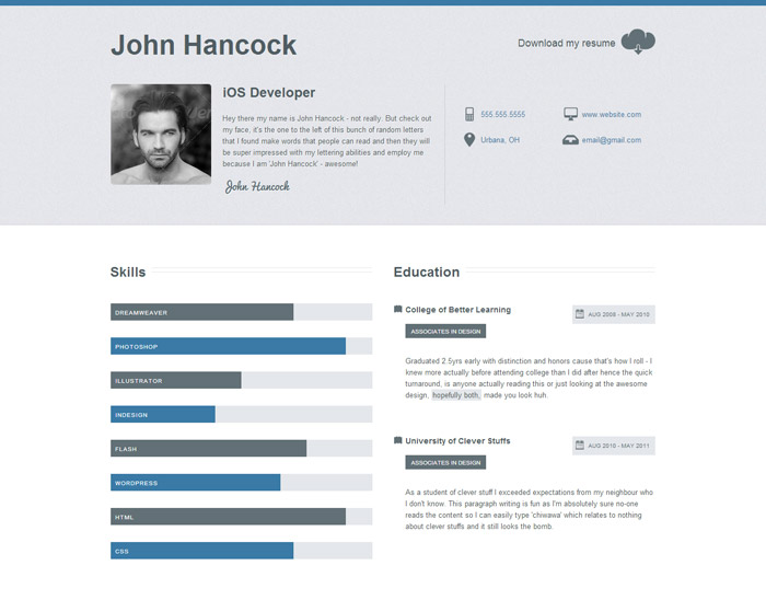 20 professional resume cv website templates