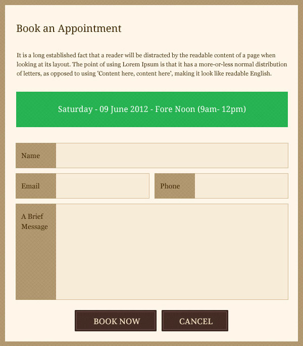 Appointment Book Template 2012