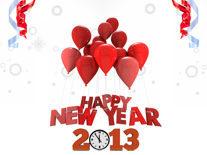 Happy New Year Balloon And Clock Picture