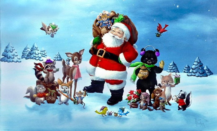santa claus and friends